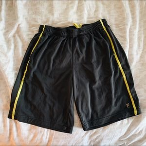 Grey and Yellow Fila Sport Men's Basketball Shorts